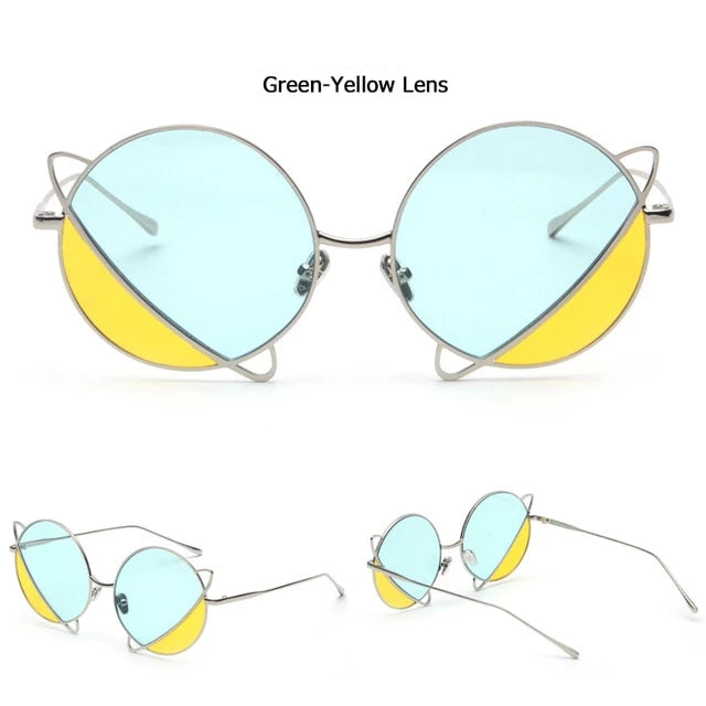 Harajuku Double Color Tint Ocean Lens Round Sunglasses JND002