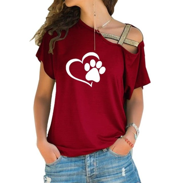 Plus Size S-4XL Kawaii Dog Cat Paw T shirt AHA8377