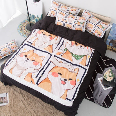 Kawaii Cute Shiba Inu Soft Cotton Bedding Set JHF499