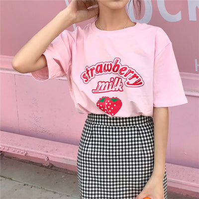 Kawaii Strawberry Milk T Shirt JNH095