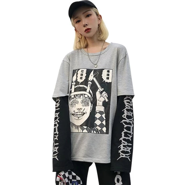 Harajuku Kawaii Anime Print Long Sleeve T Shirt AHA401129
