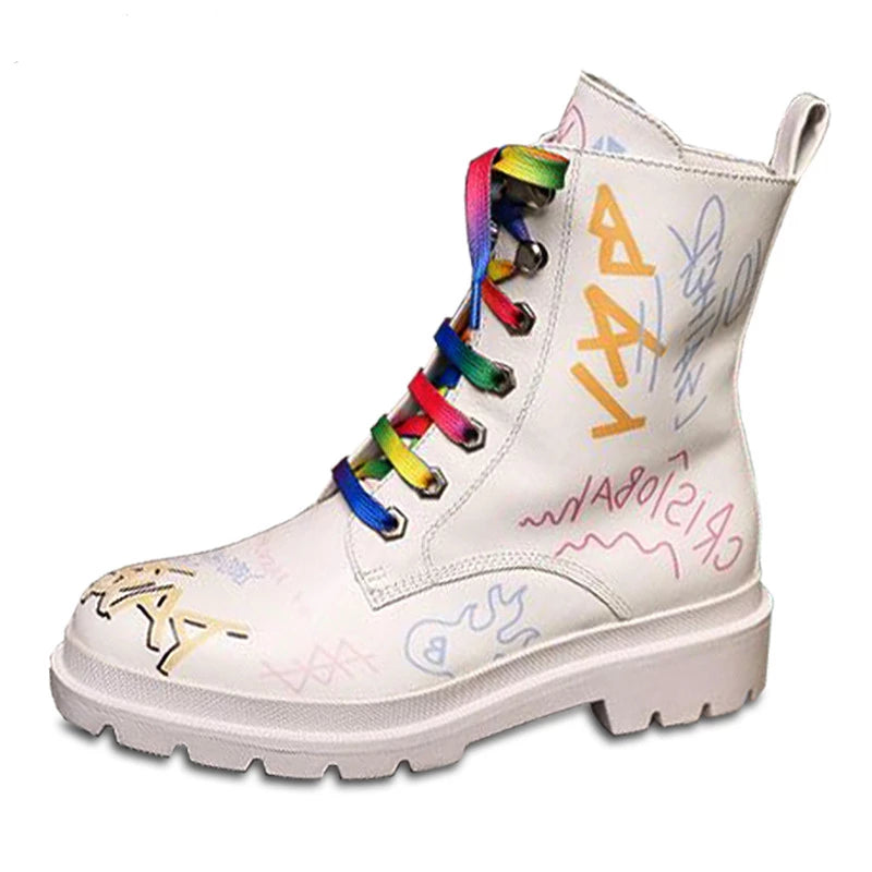 Kawaii Colorful Genuine Leather Ankle Boots JFF293