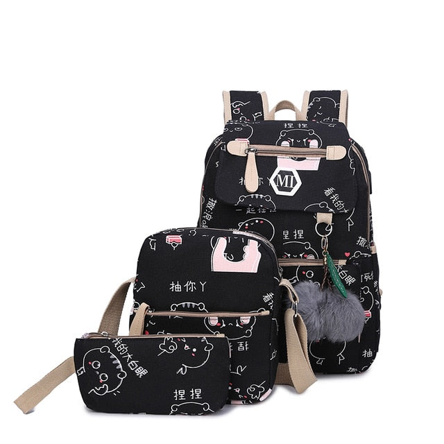 2019 3 Pcs/set Kawaii Cartoon Cat Printed Canvas Backpacks AHA9112