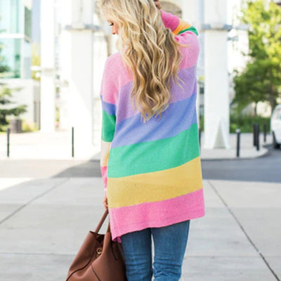 Kawaii Rainbow Striped Cardigan Sweates JCA813