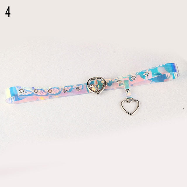 1PC Harajuku Transparent Laser Holographic Belt AHA329829