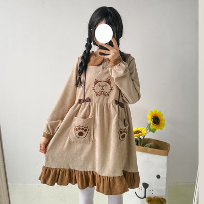 Mori Girl Kawaii Cat Long Sleeve Corduroy Dress JNX293