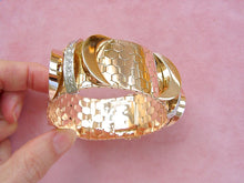 Load image into Gallery viewer, VINTAGE RETRO .65ctw DIAMOND 116 gr PINK 18K HONEYCOMB HEAVY CUFF BRACELET 1940