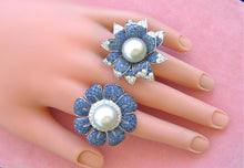 Load image into Gallery viewer, 13.5mm SOUTH SEA PEARL 5ctw SAPPHIRE .85ctw DIAMOND HUGE FLOWER COCKTAIL RING