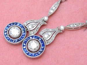 ART DECO 1.43ctw DIAMOND .85ctw SAPPHIRE HALO PLATINUM DANGLE COCKTAIL EARRINGS
