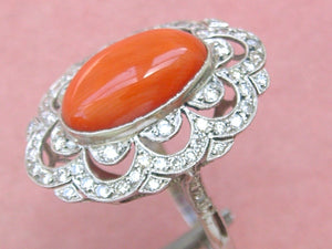 EDWARDIAN to DECO 1.16ctw BRILLIANT DIAMOND OVAL CORAL PLATINUM COCKTAIL RING