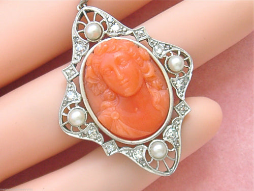 ANTIQUE .50ctw DIAMOND CARVED RED CORAL BUST HEAD PORTRAIT CAMEO PENDANT 1910