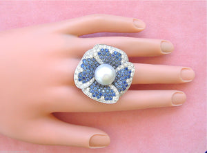 13.5mm SOUTH SEA PEARL 5ctw SAPPHIRE .85ctw DIAMOND HUGE FLOWER COCKTAIL RING