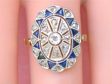 Load image into Gallery viewer, ART DECO .28ctw DIAMOND .40ctw BLUE SAPPHIRE PLATINUM OVAL COCKTAIL RING 1930