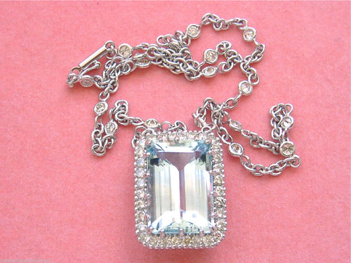 "2.65ctw DIAMOND CHAIN 15.75ct AQUAMARINE PENDANT 15.75"" CHOKER COLLAR NECKLACE"