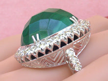 Load image into Gallery viewer, ART DECO STYLE 41 CT!! GREEN MALACHITE 1.80ctw DIAMOND HUGE OVAL COCKTAIL RING