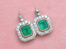 Load image into Gallery viewer, ART DECO 1.70ctw EMERALD 1ctw DIAMOND HALO PLATINUM SMALL STUD DANGLE EARRINGS