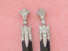 Load image into Gallery viewer, ANTIQUE ART DECO 1.5ctw DIAMOND ONYX PLATINUM STUD DANGLE COCKTAIL EARRINGS 1930