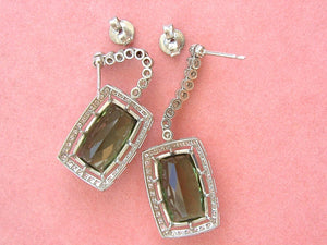 ESTATE 10ctw GREEN TOURMALINE DROPS 1.6ctw DIAMOND PLATINUM COCKTAIL EARRINGS