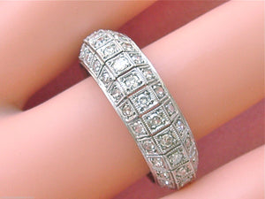 ANTIQUE 2.25ctw DIAMOND 3 ROW PLATINUM MILGRAIN ETERNITY BAND RING 1940 size 11+