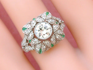 EDWARDIAN to DECO .81ct EURO DIAMOND EMERALD PLATINUM COCKTAIL ENGAGEMENT RING