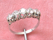 Load image into Gallery viewer, VINTAGE 1ctw OLD TRANSITIONAL DIAMOND PLATINUM CLASSIC 5-STONE RING 1950