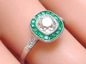 ART DECO 1.07ct MINE CUSHION DIAMOND SOLITAIRE EMERALD HALO ENGAGEMENT RING EGL