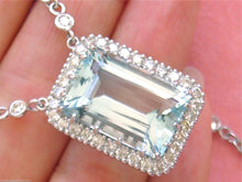 "Load image into Gallery viewer, 2.65ctw DIAMOND CHAIN 15.75ct AQUAMARINE PENDANT 15.75"" CHOKER COLLAR NECKLACE"