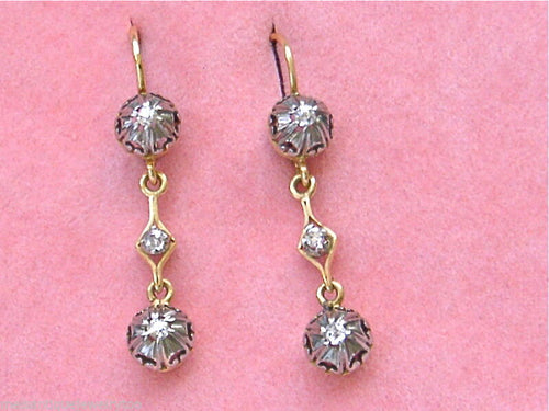 ANTIQUE .24ctw MINE DIAMOND 18K PLATINUM SMALL DANGLE EVERYDAY EARRINGS 1930