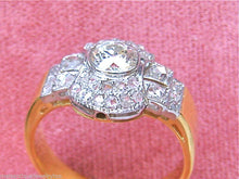 Load image into Gallery viewer, ANTIQUE 1.15ctw EURO ROSE DIAMOND 18K PLATINUM CLUSTER ENGAGEMENT BAND RING 1930