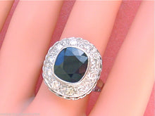 Load image into Gallery viewer, VINTAGE 4.4ct VERY DARK SAPPHIRE .90ctw DIAMOND LADY DI COCKTAIL RING 1930 sz12!