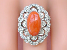 Load image into Gallery viewer, EDWARDIAN to DECO 1.16ctw BRILLIANT DIAMOND OVAL CORAL PLATINUM COCKTAIL RING