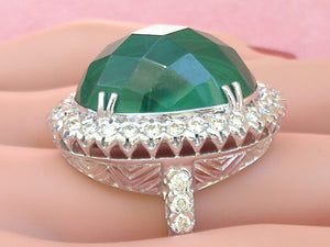 ART DECO STYLE 41 CT!! GREEN MALACHITE 1.80ctw DIAMOND HUGE OVAL COCKTAIL RING