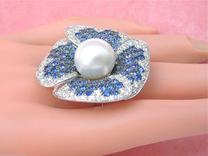 2.4ctw DIAMOND 4.5ctw SAPPHIRE 13.5mm SOUTH SEA PEARL GIANT FLOWER COCKTAIL RING