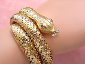 VINTAGE RUBY EYES & DIAMOND TONGUE 50gr 18K STRETCH SNAKE BRACELET 1940 GORGEOUS