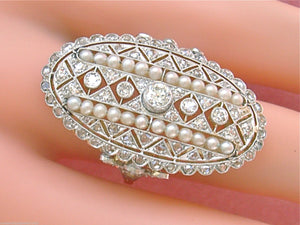 ANTIQUE ART DECO 2.21ctw EURO & MINE DIAMOND PEARL LARGE OVAL COCKTAIL RING 1930