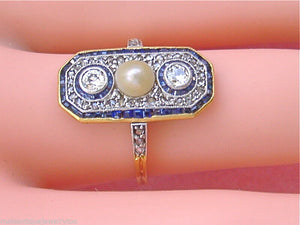 ANTIQUE ART DECO .53ctw DIAMOND .60ctw SAPPHIRE NATURAL PEARL COCKTAIL RING 1930