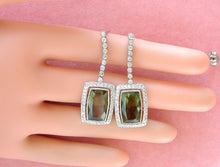 Load image into Gallery viewer, ESTATE 10ctw GREEN TOURMALINE DROPS 1.6ctw DIAMOND PLATINUM COCKTAIL EARRINGS