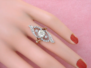 ANTIQUE NOUVEAU 1.11ct MINE DIAMOND PLATINUM 18K ENGAGEMENT COCKTAIL RING c1900