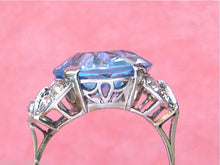 Load image into Gallery viewer, ANTIQUE RETRO .70ctw DIAMOND 13.5mm LIGHT BLUE STONE COCKTAIL RING MOUNTING 1940