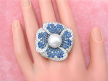 Load image into Gallery viewer, 2.4ctw DIAMOND 4.5ctw SAPPHIRE 13.5mm SOUTH SEA PEARL GIANT FLOWER COCKTAIL RING