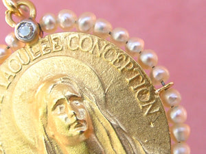 ANTIQUE 18K VIRGIN MARY FRENCH IMMACULATE CONCEPTION PENDANT 1930 ARGENTINA