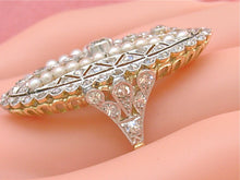 Load image into Gallery viewer, ANTIQUE ART DECO 2.21ctw EURO & MINE DIAMOND PEARL LARGE OVAL COCKTAIL RING 1930