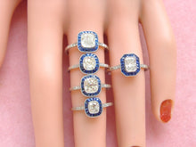 Load image into Gallery viewer, ESTATE ART DECO 1ct CUSHION DIAMOND SAPPHIRE HALO ENGAGEMENT COCKTAIL RING EGL