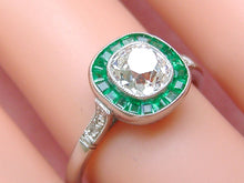 Load image into Gallery viewer, ART DECO 1.07ct MINE CUSHION DIAMOND SOLITAIRE EMERALD HALO ENGAGEMENT RING EGL