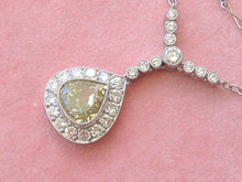 "Load image into Gallery viewer, ESTATE ART DECO 1.77ct FANCY GREENISH-YELLOW PEAR DIAMOND PENDANT 16"" NECKLACE"