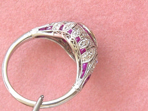 ART DECO 1.34ct TRANSITIONAL DIAMOND RUBY HALO ENGAGEMENT COCKTAIL RING