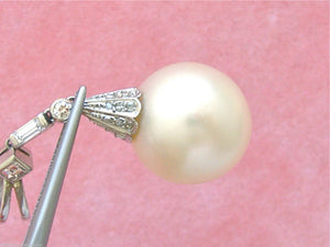 "VINTAGE .59ctw MIXED DIAMOND LARGE 16mm SOUTH SEA PEARL 1-13/16"" PENDANT 1950"