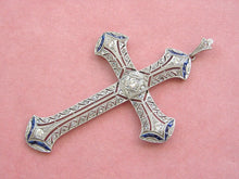 "Load image into Gallery viewer, ART DECO .80ctw DIAMOND .80ctw SAPPHIRE PLATINUM 2.5"" LARGE CROSS PENDANT 1930"