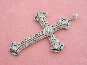 "ART DECO .80ctw DIAMOND .80ctw SAPPHIRE PLATINUM 2.5"" LARGE CROSS PENDANT 1930"