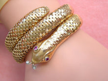 Load image into Gallery viewer, VINTAGE RUBY EYES & DIAMOND TONGUE 50gr 18K STRETCH SNAKE BRACELET 1940 GORGEOUS